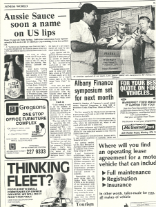 Aussie Sauce, Soon a Name on US lips, Business Weekly, 1987