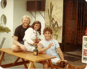 Bill Fleming, Vicki O'Brien and John 'Sword' Selwood outside Mexi Pete's