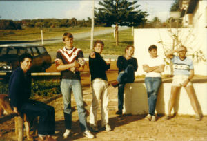 Luke Morfesse, Dave Shaw, Peter Gibbons, 'Bil Phil, Robbie and Bill Fleming outside Mexi Pete's in 1983.